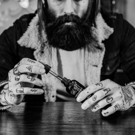 captain fawcett beard oil by ricky hall black