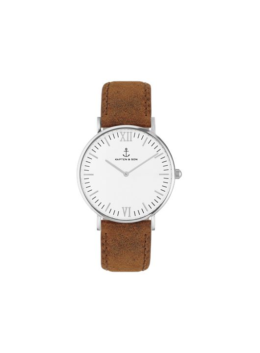 Kapten & Son Silver Brown Vintage Leather Laikrodis www.sukausa.lt